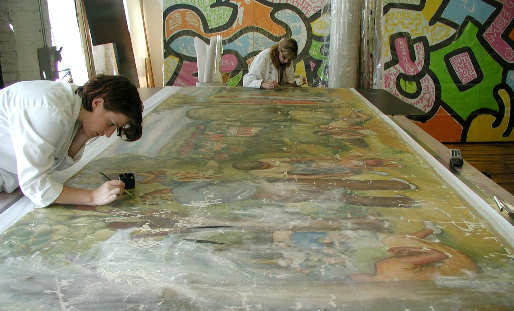 Custom 8' x 16' heated vacuum table for paintings and historic murals.